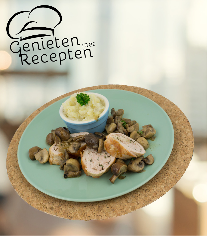Photo of Kalkoenrollade met gebakken champignons en rapenpuree